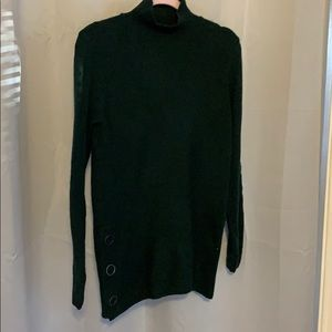Green long sweater. Great for holidays!